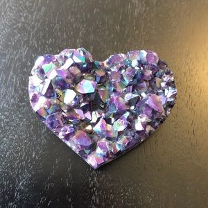 Titanium aura amethyst heart